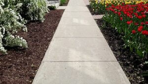 Concrete sidewalk and patios