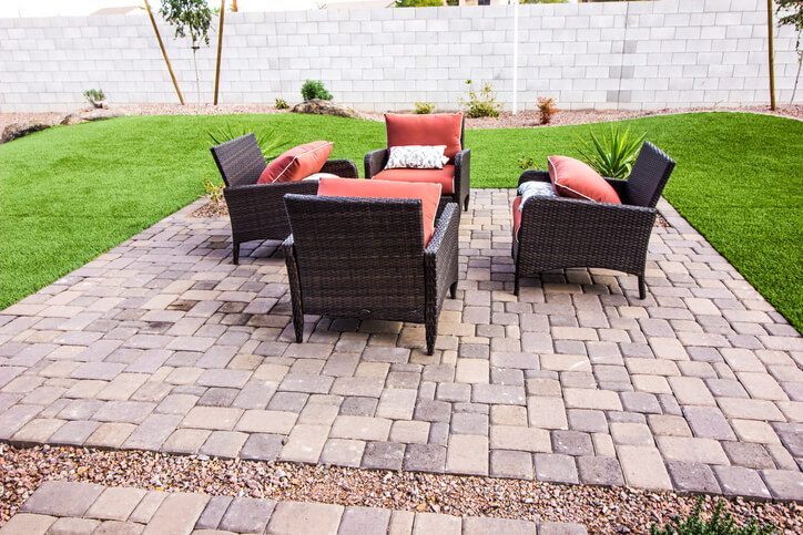 Patios - Outdoor Pavers Patio With Four Wicker Chairs