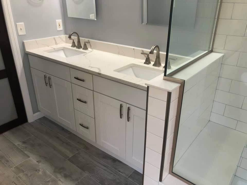 Shower and Vanity in Master Bathroom