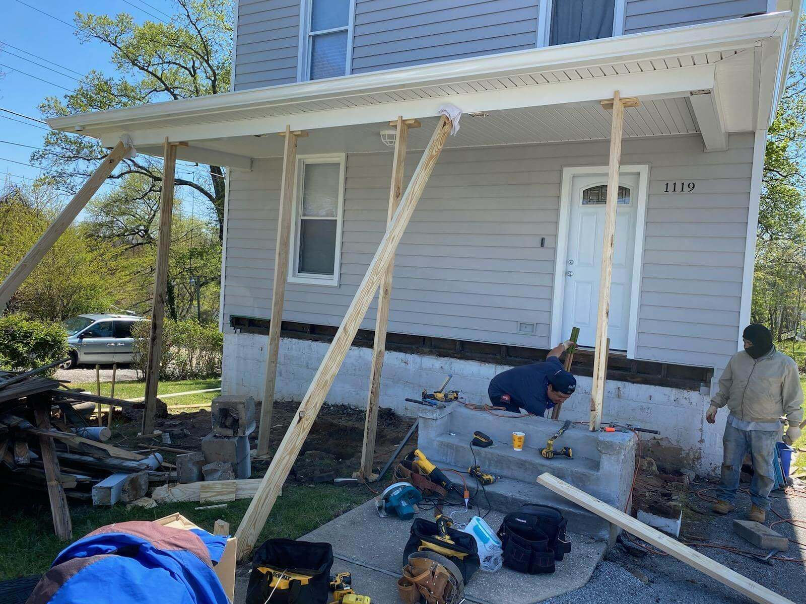 Porch Rebuild in Maryland During Roof