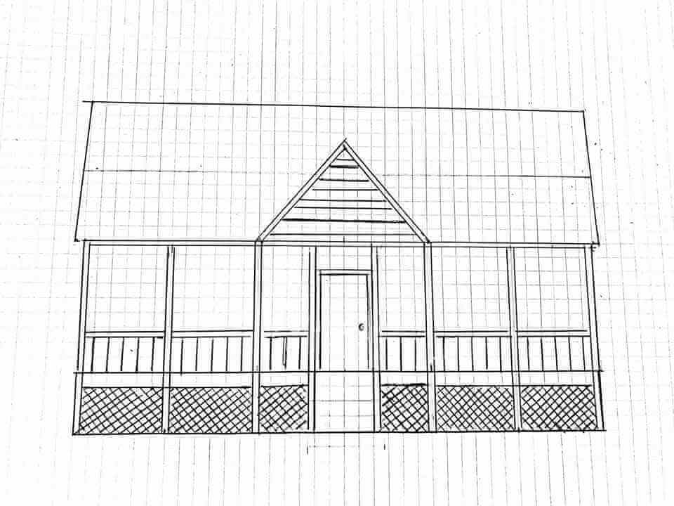 Maryland Screened-In Front Porch Sketch