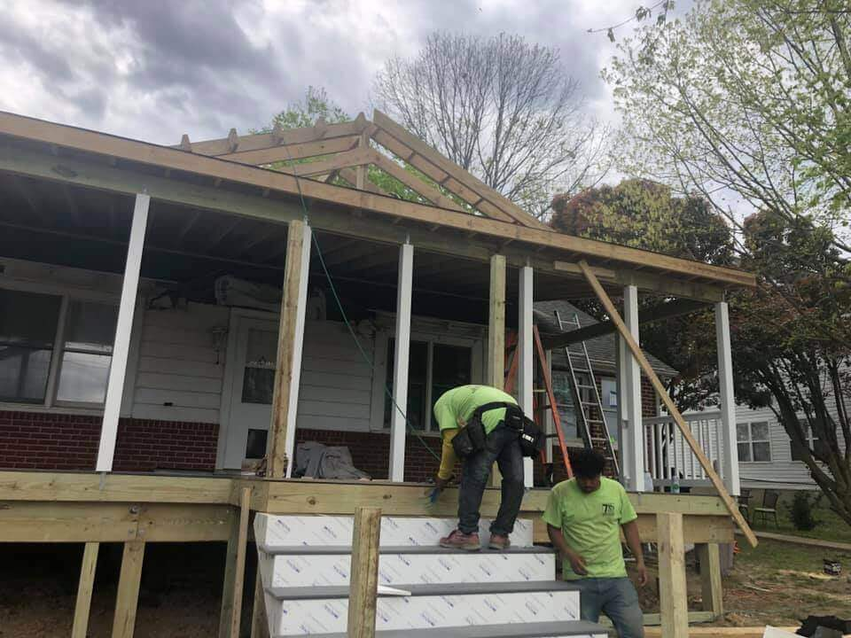 Building of Roof on Porch