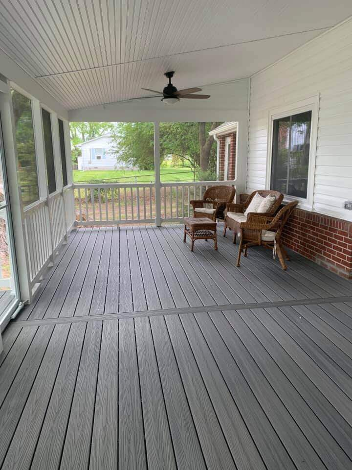 Wide Shot of Front Porch Finished with Furniture