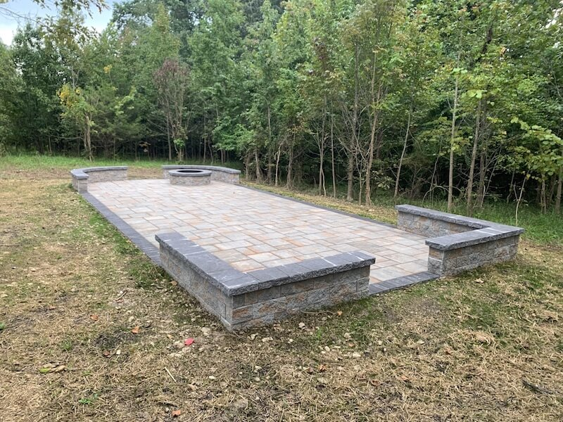 Paver Patio with a Fire Pit After