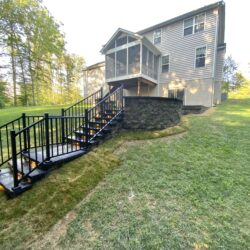 Patio in Prince Frederick, Maryland in Steep Backyard